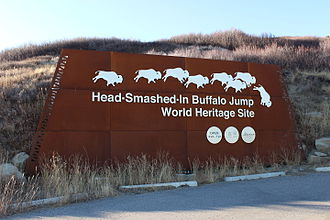 Head-Smashed-In Buffalo Jump - Sign at the Entrance