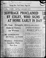 "Headline of Washington Evening Star, August 26, 1920- ""Suffrage proclaimed by (Bainbridge) Colby (Sec'y of State)...50-year struggle ends in victory for women"" LCCN2005679744.jpg"