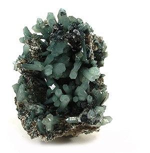 Hedenbergite - Image: Hedenbergite Quartz Hematite 54421