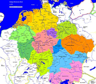 The Holy Roman Empire during the Ottonian Dynasty Heiliges Romisches Reich 1000.jpg