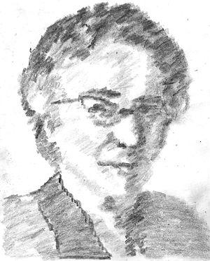 Helen Gardner (critic) - Pencil sketch of Dame Helen Gardner