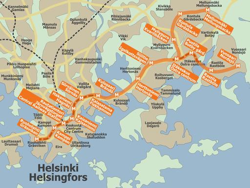 Helsinki metro map 2007