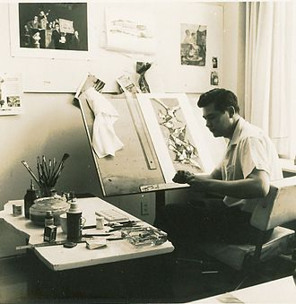 Herb Kawainui Kāne - Herb at work in his Chicago studio