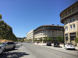 Hercules, California - Looking eastward along Sycamore Avenue in Hercules in 2016. This area has been developed as higher density residential/mixed-use in the preceding decade.