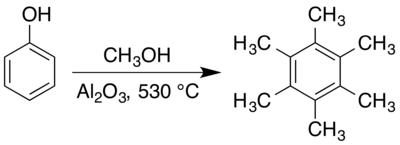 Hexamethylbenzene synthesis.png