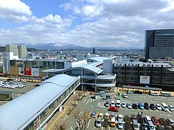 High-angle view of the Akita Station 20170401.jpg