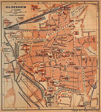 Bombing of Hildesheim in World War II - map of Hildesheim city centre