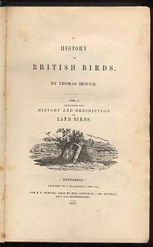 Historia de las aves británicas por Thomas Bewick página de título Vol 1 1847 edition.jpg