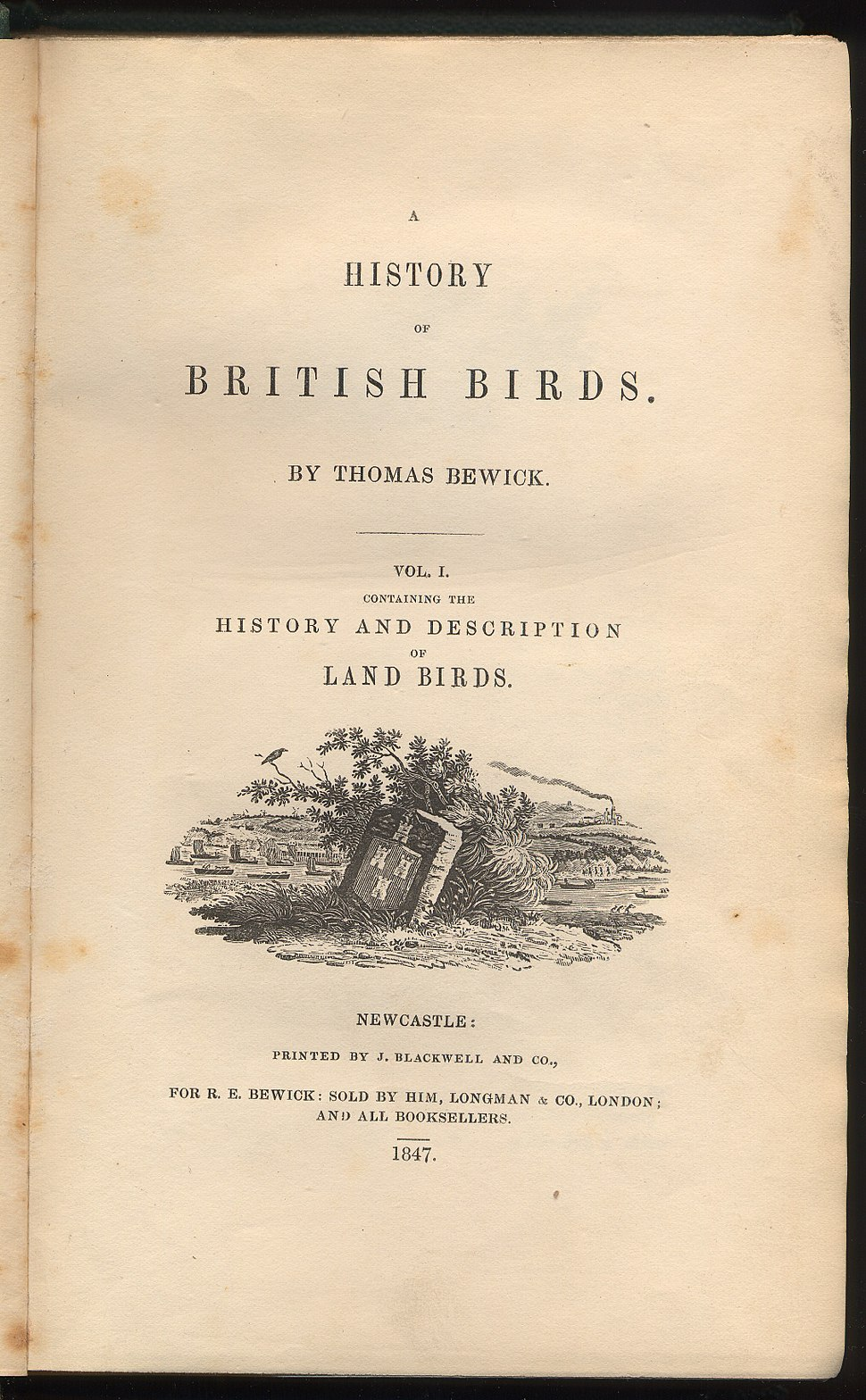History of British Birds by Thomas Bewick title page Vol 1 1847 edition