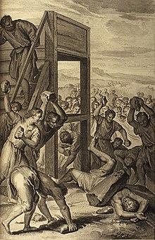 Il bestemmiatore lapidato, Gérard Hoet et Abraham de Blois, Immagini della Bible, , P. de Hondt editore, La Haye, 1728.