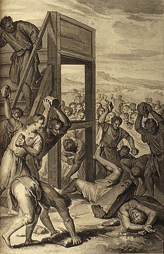 Emor - The Blasphemer Stoned (illustration from the 1728 Figures de la Bible)