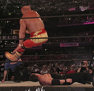 Leg drop - Hulk Hogan performing a leg drop on Mr. McMahon