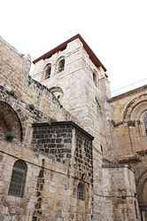 Holy Sepulchre bell tower from parvis 6.jpg