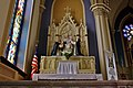 Holy Trinity Catholic Church (Somerset, Ohio) - interior, the Blessed Virgin Mary and the Christ Child give the Rosary to Sts Dominic and Catherine of Siena.jpg
