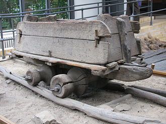 Mine railway - Mine wagon on wooden rails from Transylvania, end of the 19th century