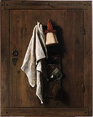 Door with towel brush and letter bag