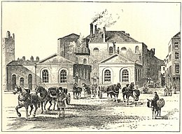 Etching of brewery working; two drays of horses pull deliveries away from the building.