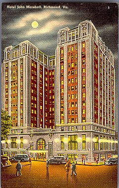 Hotel John Marshall Richmond Virginia Postcard Jpg