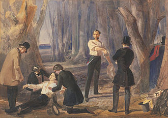 Dion Boucicault - Painting by Edward Henry Corbould depicting a scene from Boucicault's The Corsican Brothers, 1852