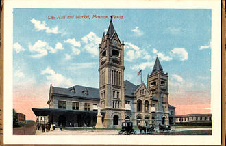 Houston City Hall - Houston City Hall and Market (postcard, circa 1912-1924)