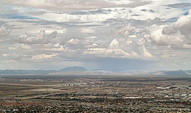 A photo of the Hueco Mountains from the distance