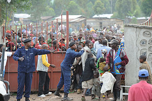 Refugee crisis - Distribution of humanitarian aid at a refugee camp in Congo.