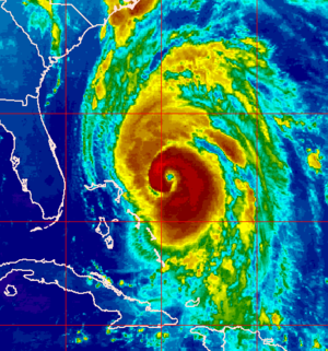 Hurricane Fran - Colorized infrared image of Fran near peak intensity east of the northern Bahamas and Florida.