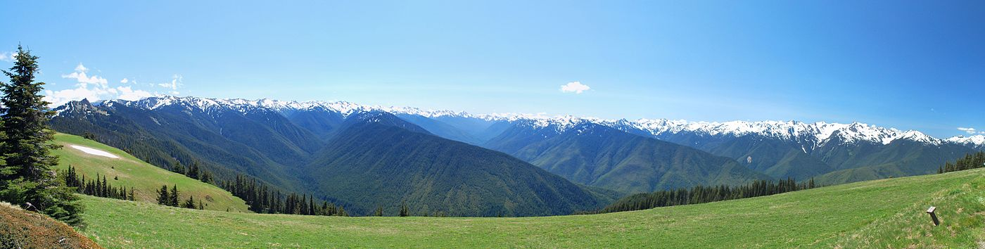 Panoramic view of the Olympic National Park as seen from the Hurricane Ridge visitor center