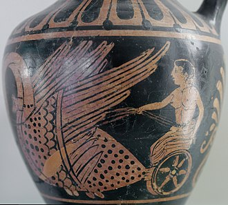 Hyacinth (mythology) - Hyacinthus meeting Apollo (not seen here) in a biga drawn by swans, Etruscan oinochoe