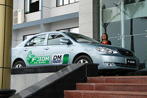 BYD F3DM - A promotional BYD F3DM in Shenzhen, China.