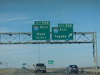 Interstate 135 - I-135 ends at this interchange with I-70.