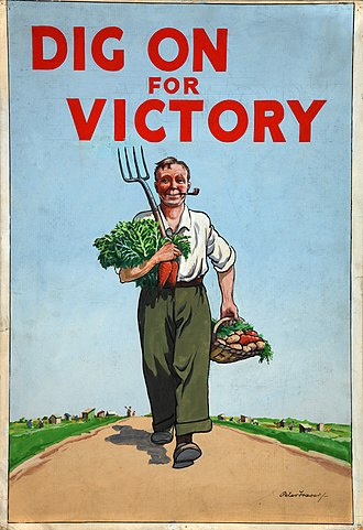 "Rationing in the United Kingdom - Poster for the ""Dig for Victory"" campaign, encouraging Britons to supplement their rations by cultivating gardens and allotments."