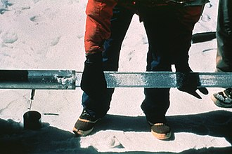 Ice core - Ice core sample taken from drill. Photo by Lonnie Thompson, Byrd Polar Research Center
