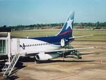 Iguazu International Airport, IGR. Boeing 737-200 of LAN Argentina at the apron in 2006.jpg