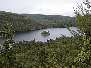 La Mauricie National Park - The Pines Island (Île aux pins) in the middle of Lake Wapizagonke