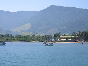 Ilhabela - View of Pereque Beach from ferry-boat