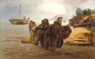 Barge Haulers on the Volga - Barge Haulers Crossing a Ford, Ilya Repin, oil on canvas, 1872. 62 × 97 cm. The State Tretyakov Gallery, Moscow.