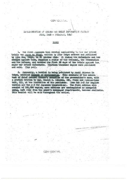 Implementation of Second War Guilt Information Program (June, 1946 - Feburary, 1948)