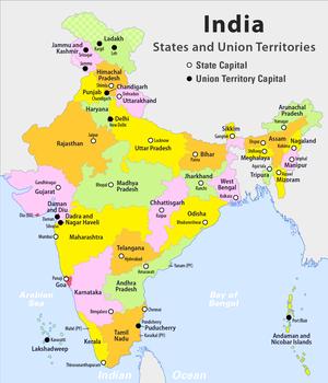 Cartina Fisica E Politica Dell India.Stati Federati E Territori Dell India Wikipedia