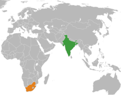 Map indicating locations of India and South Africa
