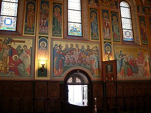 Serbian Orthodox Cathedral, Zagreb - icons painted as frescos on the walls