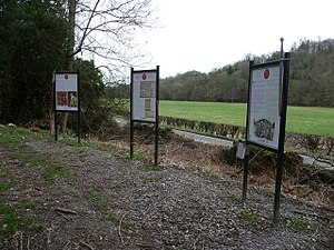 Battle of Crogen - Image: Interpretation boards on the Battle of Crogen (1165)