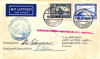 "Hugo Eckener - Cover autographed by Eckener flown on the nearly disastrous ""Interrupted Flight"" in May/August 1929."