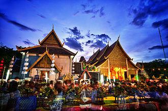 Inthakhin (pillar) - Wat Chedi Luang during Tam Bun Khan Dok