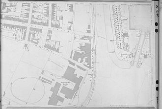 Ipswich Dock - Map showing the New Cut, the lock gates, the promenade and the griffin ferry - 1884