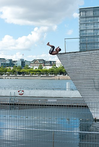 Copenhagen Harbour Baths - Diver at Islands Brygge Harbour Bath