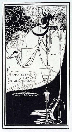 The Climax (illustration) - Aubrey Beardsley, J'ai baisé ta bouche Iokanaan, illustration, The Studio, April 1893.