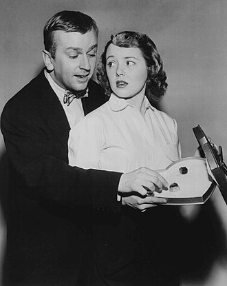 The Aldrich Family - Jackie Kelk, who played Homer Brown on the radio show, and Mary Malone as Mary Aldrich in the television program, 1951.