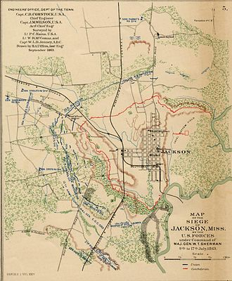 Jackson, Mississippi - September 1863 map of the Siege of Jackson