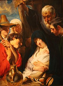 "1=Painting ""The Adoration of the Shepherds"", by Jacob Jordaens, 1618. National Museum, Stockholm (Sweden)."